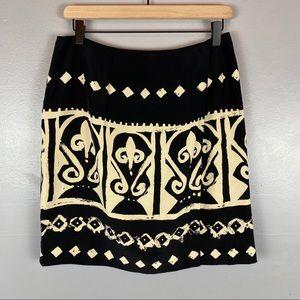 Ann Taylor vintage silk wrap skirt black cream 12